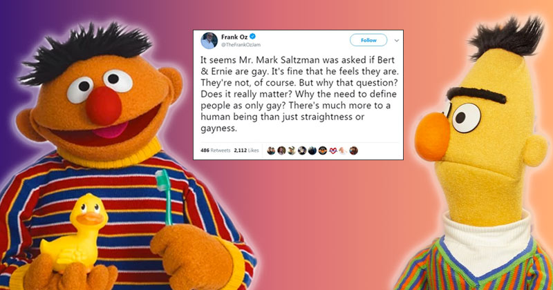Image for Leftists Accuse Frank Oz of Homophobia for Saying Bert, Ernie Not Gay