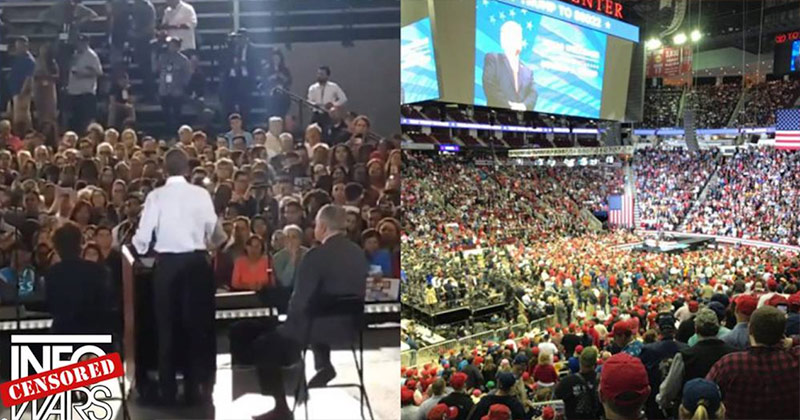 Image for Photos and Video: Numbers At Trump Rally Dwarf That Of Obama Event 50-1
