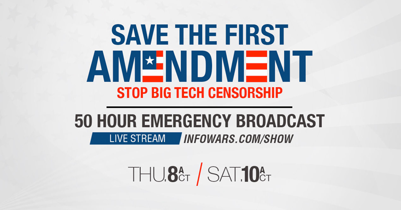 Image for Save the First Amendment: Stop Big Tech Censorship 50-Hour Emergency Broadcast