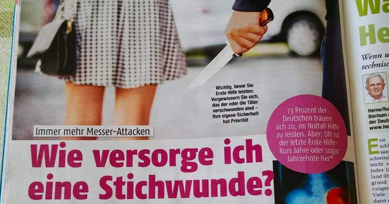 Image for German Women's Magazine Teaches Girls To Treat Stab Wounds