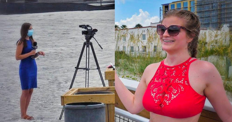 Image for Watch: Reporter Wears Mask on Nearly Empty Beach