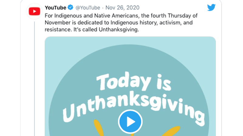 Image for YouTube Gets Brutally Ratioed After Attempting Woke Takedown Of Thanksgiving