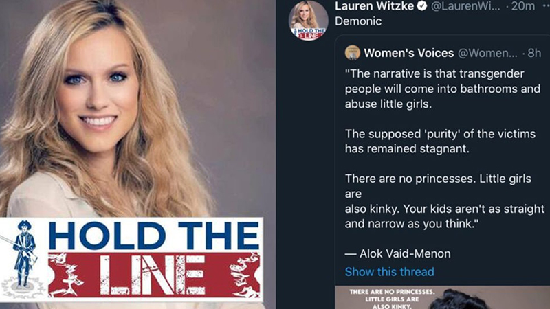 Image for 'DEMONIC': Twitter Bans Lauren Witzke For Criticizing Trans Woman Who Says 'Little Girls' Are 'Kinky'