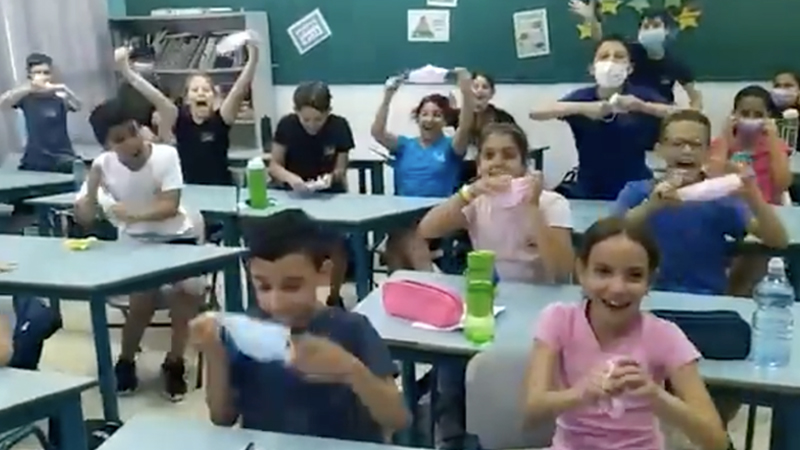 Image for Watch The Moment Israeli Children Are Told Masks No Longer Required