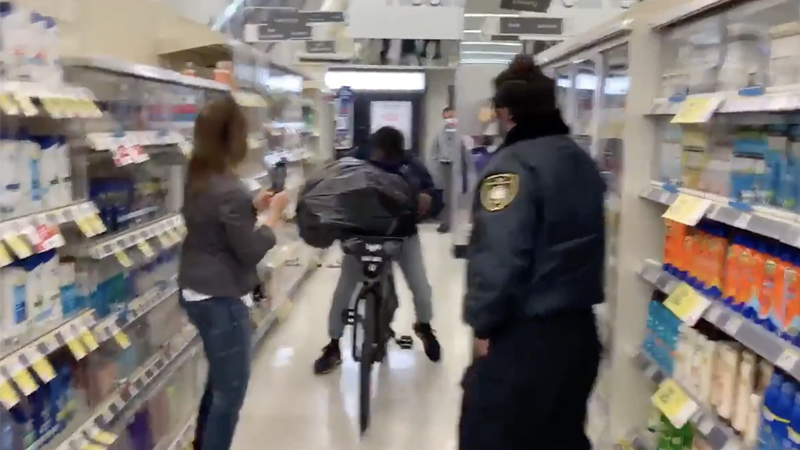 Image for California: Shoplifter Stuffs Items Into Garbage Bag, Bikes Past Security Guard Out Of Store