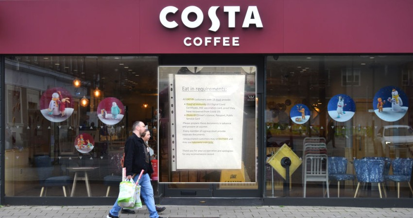 Image for Branch of Costa Coffee Demands Proof of Vaccination, Photo ID to Enter Shop