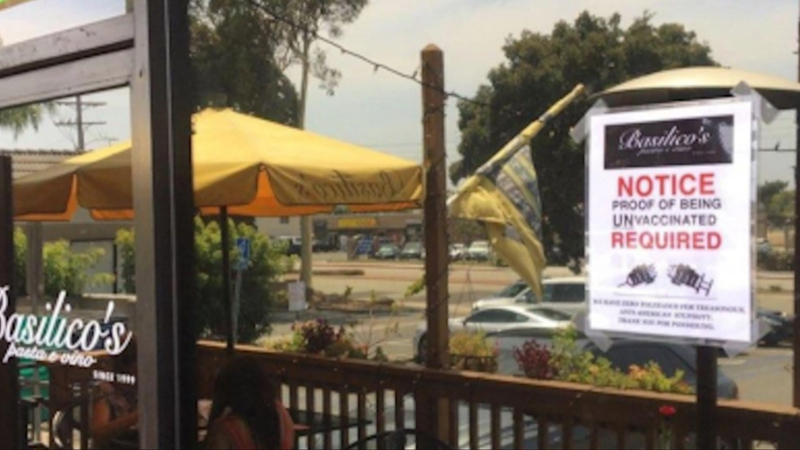Image for Restaurant 'Requiring' Patrons to Prove They Are NOT Vaccinated