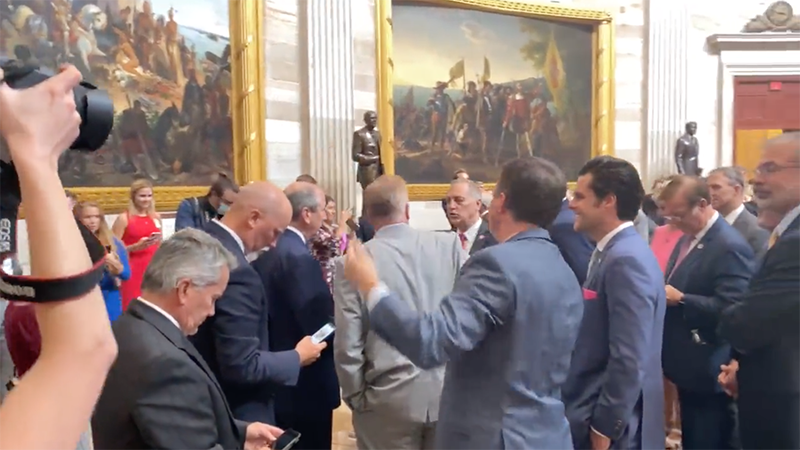 Image for Video: House GOP Protest Dumb Mask Mandate By Walking Into Other Half Of Building Where They're Not Mandated